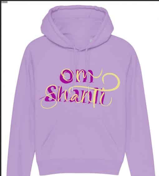 Purple hoodie with calligraphy pm shanti